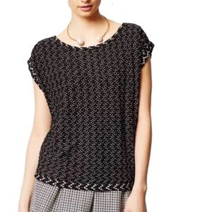 Anthropologie Woven Knit Top Black White Stretchy